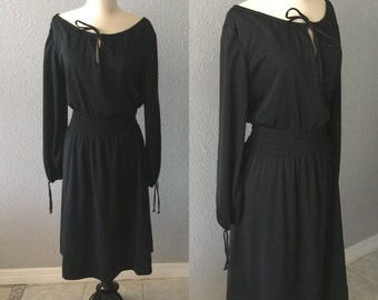 1970's Boatneck Keyhole Midi Dress by Lady Carol