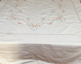 Pastel Embroidered Tablecloth