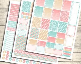 "SALE 40% OFF Weekly Stickers Kit, Weekly Kit, Weekly Planner, Erin condren,""HappyHearts"", Spring Printable, Instant Download, Pdf + Jpeg"