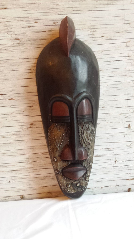 Vintage African Tribal Mask with great hand hammered metal detail