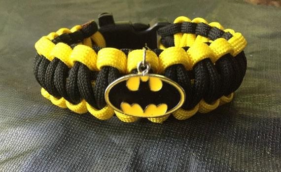 Batman Paracord Bracelet, Batman pendant attached, stainless steel buckle