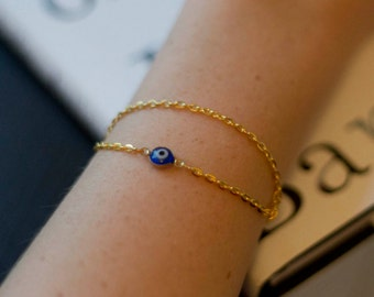 Delicate yellow gold plated Evil Eye clasp bracelet
