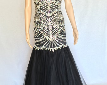 Black Evening Gown with Jewel and Sequin Embellishments