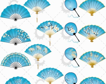 Blue Coloured Japanese Fans Clipart Collection