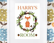 Little woodland fox bedroom/playroom personalised print gift, available framed or unframed. Boys or girls.