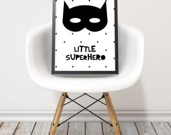 Little superhero art print - Monochrome nursery wall art - Little superhero poster - Black and white wall print - Printable boys gift