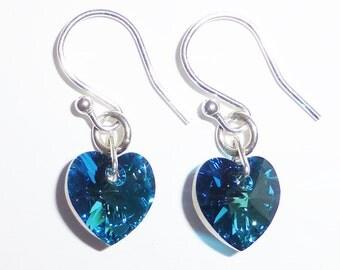 Bermuda Blue Swarovski Crystal Heart Earrings
