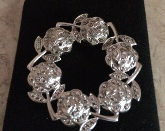 Vintage Sterling Silver with Marcasites Flower Pin/Brooch