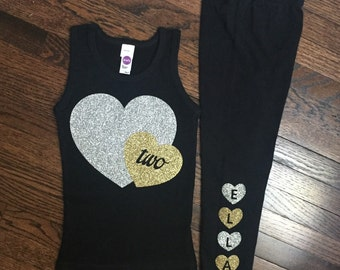 Birthday outfit, Silver and Gold Glitter Heart Tank top and Personalized Leggings