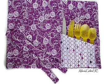 Practice placemat with pouch utensil Caddy - purple flowers
