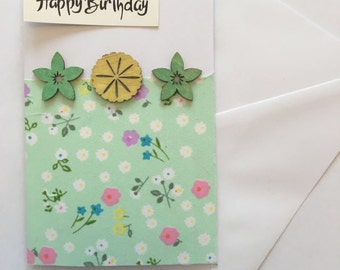 Cute Green floral card - perfect for any occasion