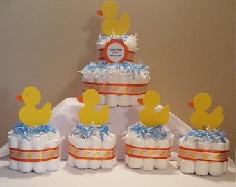 Rubber Ducky Diaper Cake, Rubber Ducky Centerpiece, Rubber Ducky Diaper Centerpiece, Gender Neutral Diaper Cake, Rubber Ducky Baby Shower,