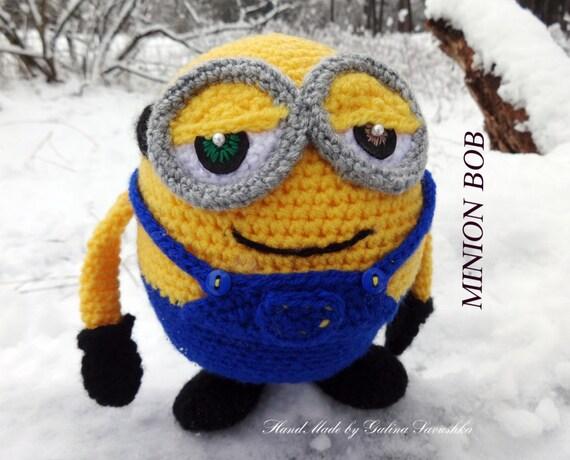 Knitting Pattern Minion Toy : Crochet minion-Minion Bob Doll-Knitted Minion-Soft Toy Crochet