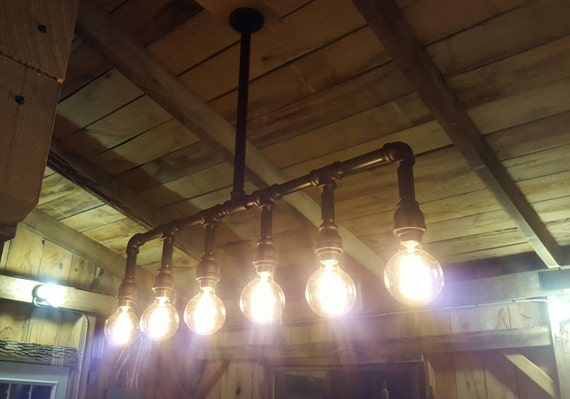 Items similar to industrial lighting chandelier iron pipe for Iron pipe ceiling light