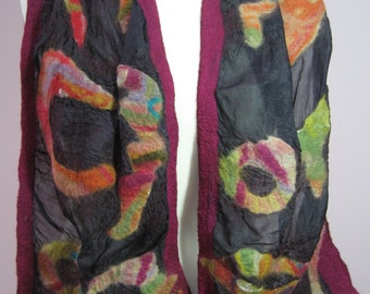 Women's nuno felted silk and Merino wool Scarf