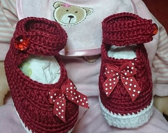 BALANCE shoe baby girl 100% cotton crochet size 3 months