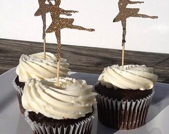 Ballerina Cupcake Toppers | Ballet Cupcake Toppers | Ballerina | Girl Birthday | Gold Ballerina Birthday | Ballerina Party Decorations
