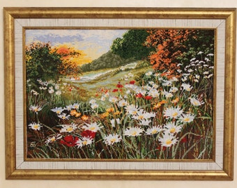 Cross stitch picture Daisies Field Cross stitch scenery Embroidered picture Daisy landscape Embroidery art work Textile picture Home décor