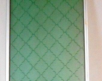 ON SALE Vintage 2 Panels Mid Century Modern green BOHEMIAN Moroccan room divider screen panel geometric lattice Trellis design home decor