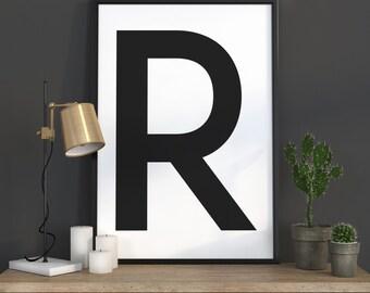 R Letter Print, Initial Wall Art, Scandinavian Art, Scandinavian Poster, Initial Poster R Letter Poster, R Letter Print, INSTANT DOWNLOAD