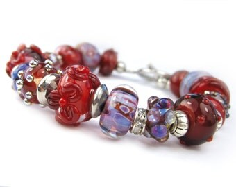 Bracelet with Lampwork Glass Beads