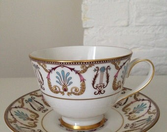 Wonderful Cup and Saucer Set by Royal Grafton English Bone China Gold Accents