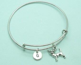 Chihuahua charm bangle bracelet, Chihuahua personalised initial bangle, letter, personalised charm, Chihuahua gift