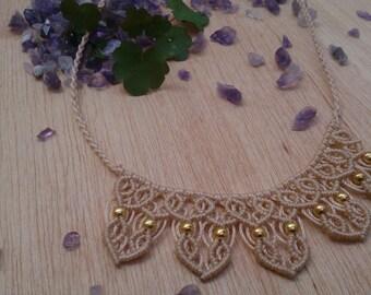 Macrame choker / necklace macrame / Original hand-woven choker / necklace single / color beige Necklace