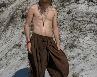 DHOTI PANTS Brown Men Khadi Pants Earthy Clothing Organic Natural Hand Woven Tribal Clothing Harem Dhoti Indian Pants