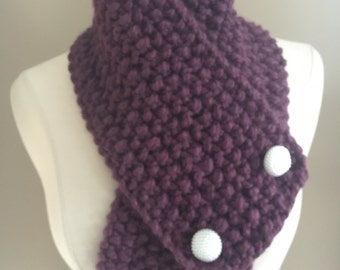 Knitted Cozy Bulky Purple Cowl Neck Warmer Handmade Accessories Ready To Ship