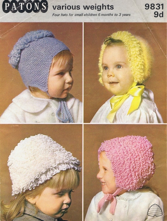 Vintage Knitting Patterns Baby Hats : Babies Hats Vintage Knitting Pattern Instant Download PDF