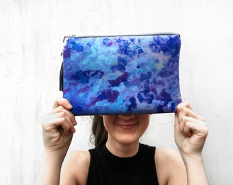 Pretty Clutch Bag, Leather, Blue Purple Printed Floral Look Leather & Neoprene, Pretty Evening Clutch Bag
