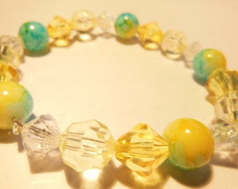 Yellow and blue elastic bracelet