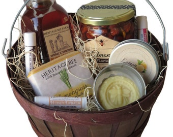 Medium Gift Basket from the Hive ~ Raw Honey ~Handmade Soap ~ Lip Balm ~ Lotion Bar --- The Perfect Gift!