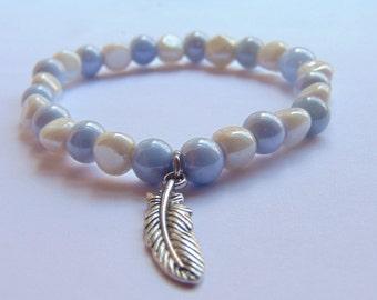 Pebble Stone with Feather Charm Bracelet