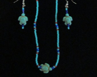 Beaded Necklace and Earring Set with Turtle Accents
