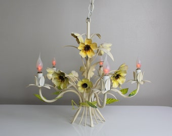 Vintage italian tole chandelier - vase with flowers and leaves - ceiling light - shabby chic decor lighting