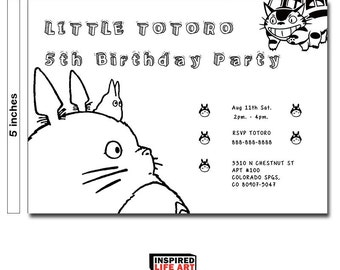 My neighbor totoro birthday party invitation card, Totoro invitation card, Ghibli totoro, totoro baby, totoro invitation, birthday party