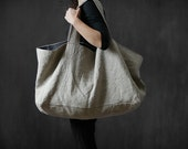 Linen bag, Natural linen oversize Bag, Washed linen,  Shoulder Bag, Weekender Beach Bag, Sac Cabas