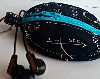 Math Equations Earbuds Holder - Nerdy Coin Purse - Math Geek - Key Ring - Detachable - Small Gift - Fully Lined - OOAK - Custom Made