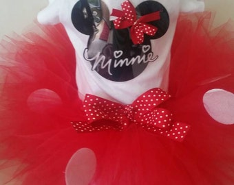 Minnie Mouse Outfit, Minnie Mouse Halloween Costume, Minnie Mouse Halloween Outfit Toddlers, Red Minnie Mouse Tutu, Sizes 6 mo - 4T