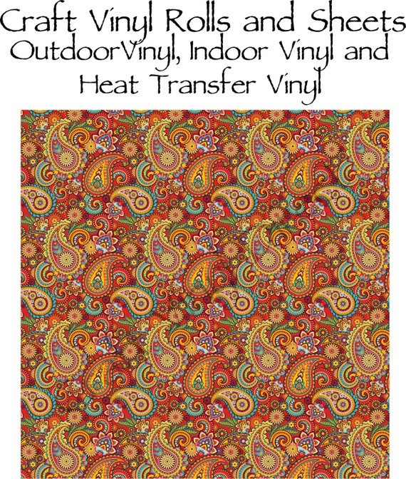 Beautiful, Vibrant Patterned Craft Vinyl and Heat Transfer Vinyl in Paisley Pattern 221