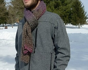 Handmade knit straight chunky scarf in gray with intermingled purple and pink stripes.  Free domestic USPS Priority Shipping!