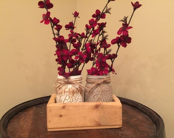 Mason Jar Planter, rustic decor, home decor, centerpiece, housewarming gift, hostess gift, country decor, gifts under 50, stained planters