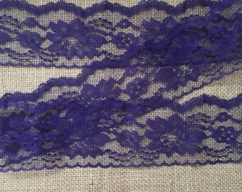 """Purple lace 3 inch, lace trim 3 inch, flat lace 3"""", lace for invitations, floral lace- 1 yard"""