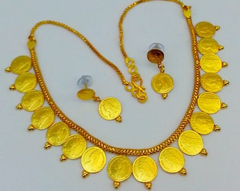 Indian Jewelry, 22K Gold Plated Coin Necklace Earrings