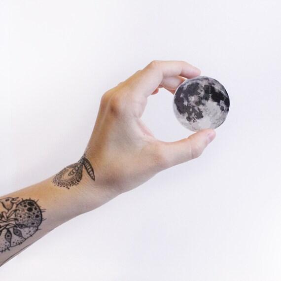 Full Moon Temporary Tattoo, Circular Grey Moon, Night Sky, Lunar Tattoo, Nature Tattoo