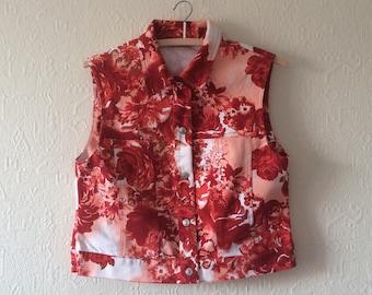Vintage Sleeveless Jacket Women Vest Floral Print Vest Cropped Waistcoat Red Vest Flower Print Waistcoat Medium Size