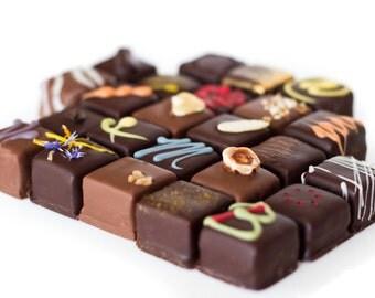 Fine chocolate morsels box, 24 per box, fine chocolate bites, fine chocolate, dark chocolate, milk chocolate,  box of chocolate