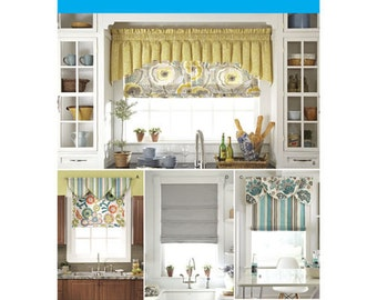Sewing Pattern for Roman Shades & Valances, Simplicity 1684, Window Coverings, Window Treatments Pattern, Home Decor, Rod Pocket Valance